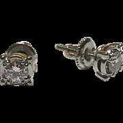 Vintage 18k White Gold Diamond Stud Earrings .70 TCW