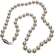 "18k White Gold Pearl Necklace~ 18"" Strand"