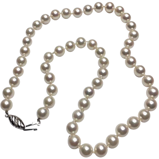 """18k White Gold Pearl Necklace~ 18"""" Strand"""