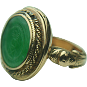 Vintage 14k Yellow Gold & Green Poison / Snuff Ring~ Size 6.5