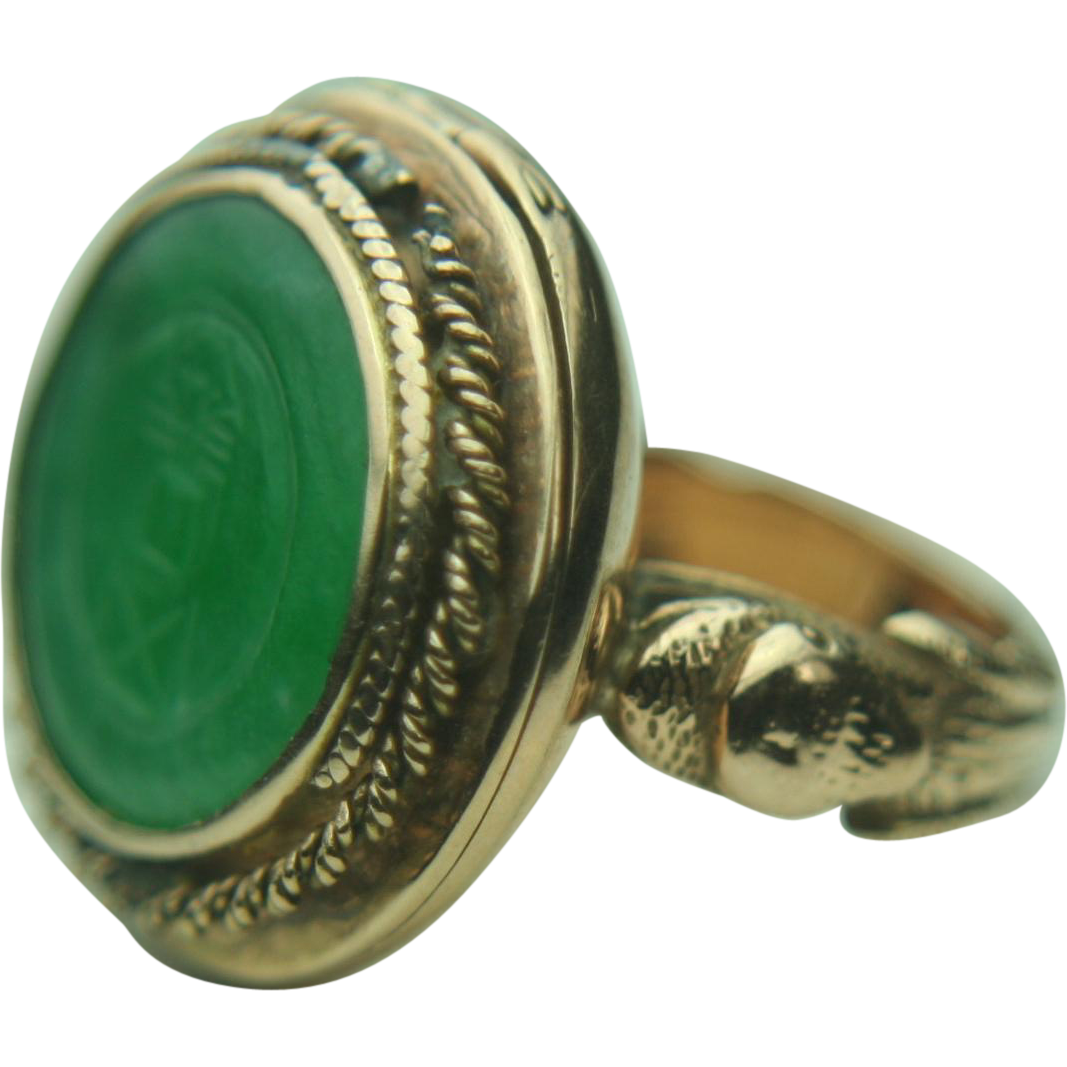 Antique 14k Solid Gold Poison / Snuff Ring