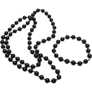 14k Yellow Gold & Onyx Beaded Necklace & Bracelet Set