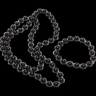14k Yellow Gold & Onyx Beaded Necklace & Bracelet Set