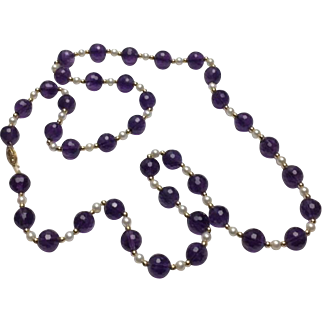 """14k Yellow Gold Amethyst & Pearl Beaded Necklace~ 30"""""""