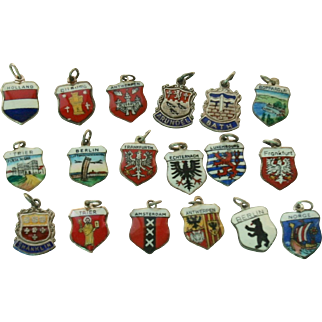 Lot of 20 Sterling Silver Travel Shield Charms