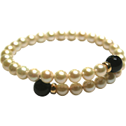 14k Yellow Gold Pearl & Black Onyx Wrap around bendable bracelet