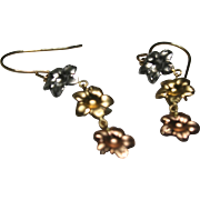 14k Multi-Toned Yellow, Rose, and White Gold Flower Earrings by JCM