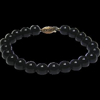 "14k Yellow Gold Black Onyx Bead Bracelet~ 7.5"""