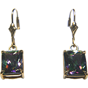 14k Yellow Gold Mystic Topaz Dangle Earrings