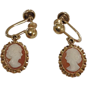 Vintage 10k Yellow Gold Cameo Signed BDA CLIP Dangle Earrings