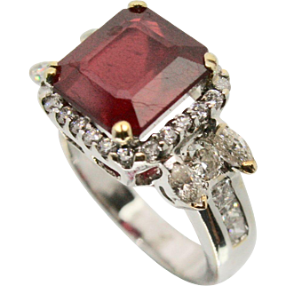 18k White Gold Ruby & Diamond Ring