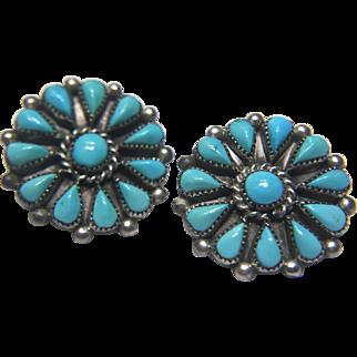 """Vintage Sterling Silver Navajo Turquoise """"Phyllis"""" Earrings"""
