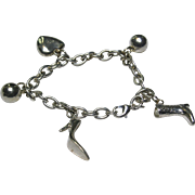 "Sterling Silver Charm Bracelet~ 7"""