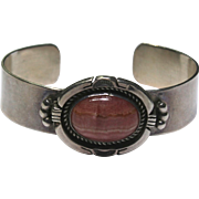 Sterling Silver Pink Turquoise Stone Cuff Bracelet