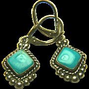 "Native American ""QTO"" Signed Turquoise Dangle Earring"