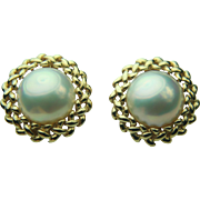 Maruwa M Vintage 14k Solid Gold & Button Pearl Earrings