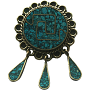 Sterling Silver Alpaca Mexico Crushed Turquoise Pendant/ Brooch