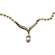 10k Yellow Gold Cultured Pearls & Diamond Necklace~ 22""