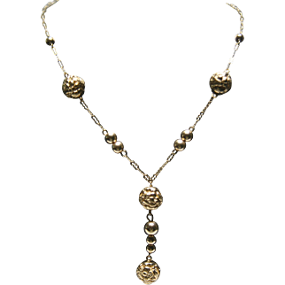 """14k Yellow Gold Floral Bead Drop Necklace~ 18"""""""