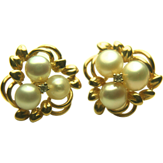 14k Yellow Gold Pearl & Diamond Earrings