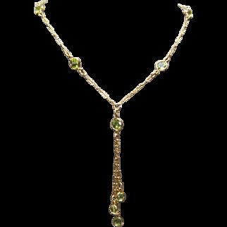 14k Yellow Gold & Peridot Dangle Necklace
