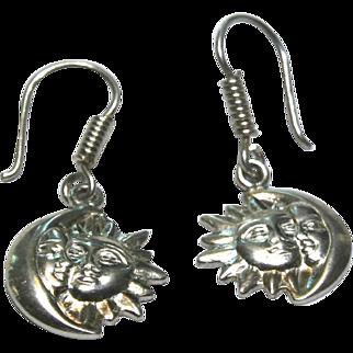 Sterling Silver Moon & Sun Dangling Earrings