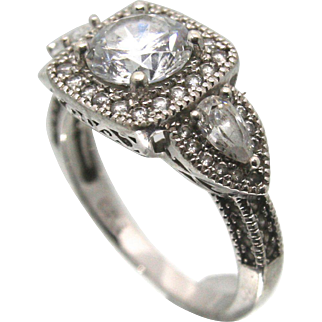 Sterling Silver 2 Carat Round CZ Ring