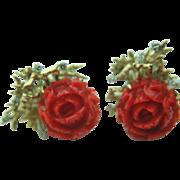 Vintage Carved Reddish-Orange Coral Rose & Diamond Earrings