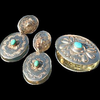 Sterling Silver Native American Clip Earring & Brooch
