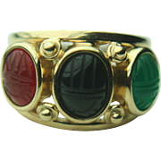 14k Yellow Gold Jade, Onyx & Carnelian Scarab Ring ~ Size 7.25