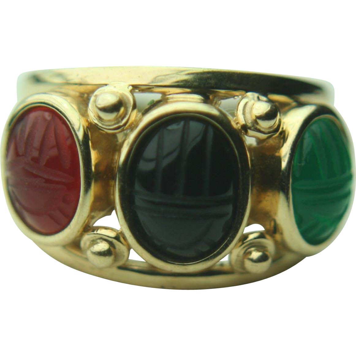 14k Solid Yellow Gold Jade, Onyx & Carnelian Scarab Ring
