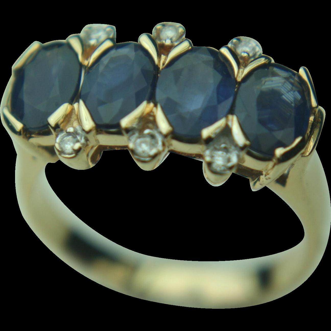 14k Solid Yellow Gold Blue Sapphire & Diamond Ring