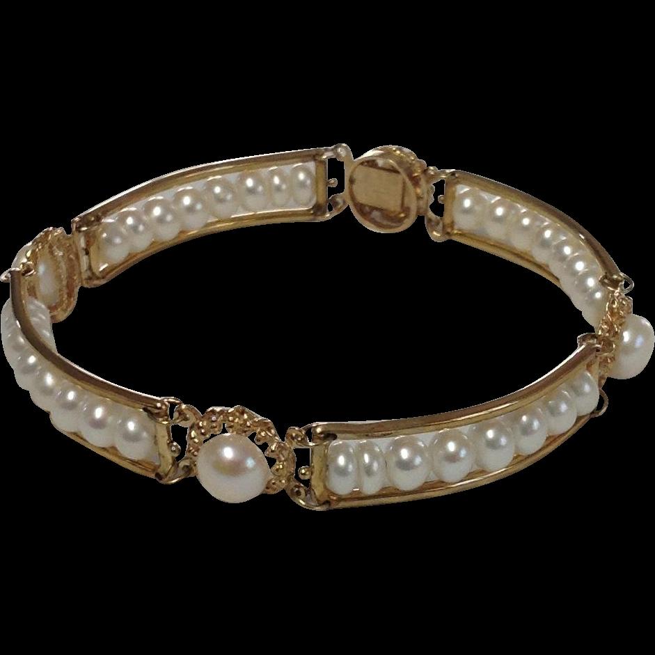 Vintage 10k Yellow Gold Rafka Freshwater Pearl Bracelet~ 7 Inches