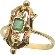 Antique 18k Solid Gold Emerald & Diamond Fine Ring
