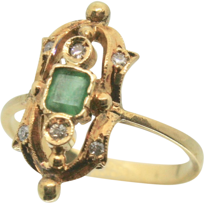 Antique 18k Solid Gold Emerald & Diamond Fine Ring