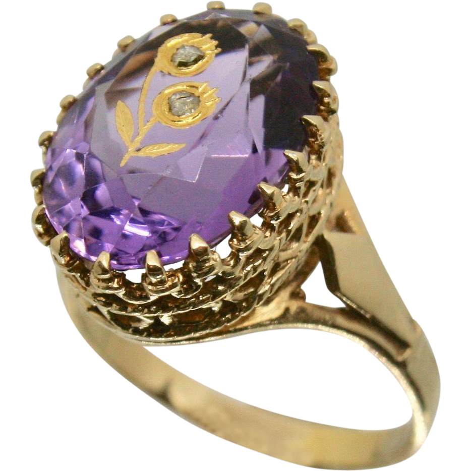 14k Solid Yellow Gold & Faceted Amethyst Ring - Accent Diamond