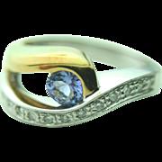 18k Yellow & White Gold Tanzanite & Diamond Accent Ring~ Size 8