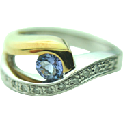 18k Solid Two Toned Gold Tanzanite & Diamond Designer Ring - Ying Yang Style