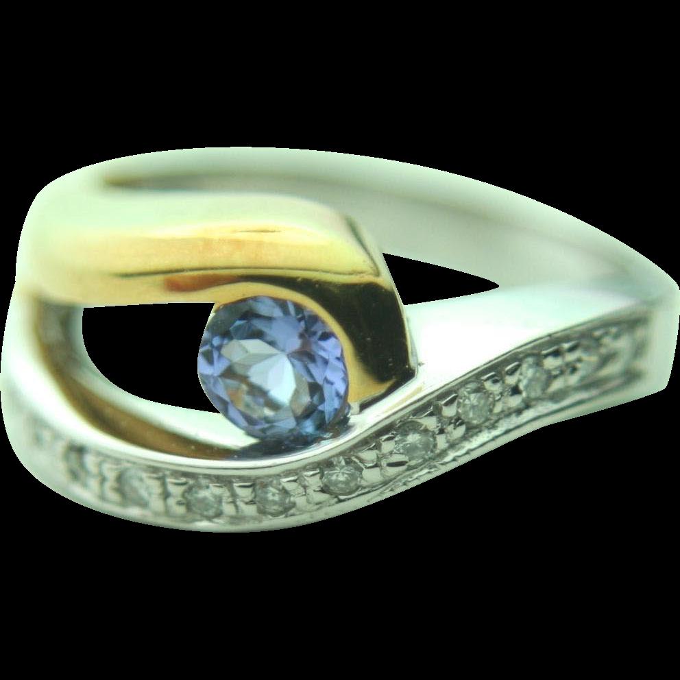 18k Solid Two Toned Gold Tanzanite & Diamond Designer Ring