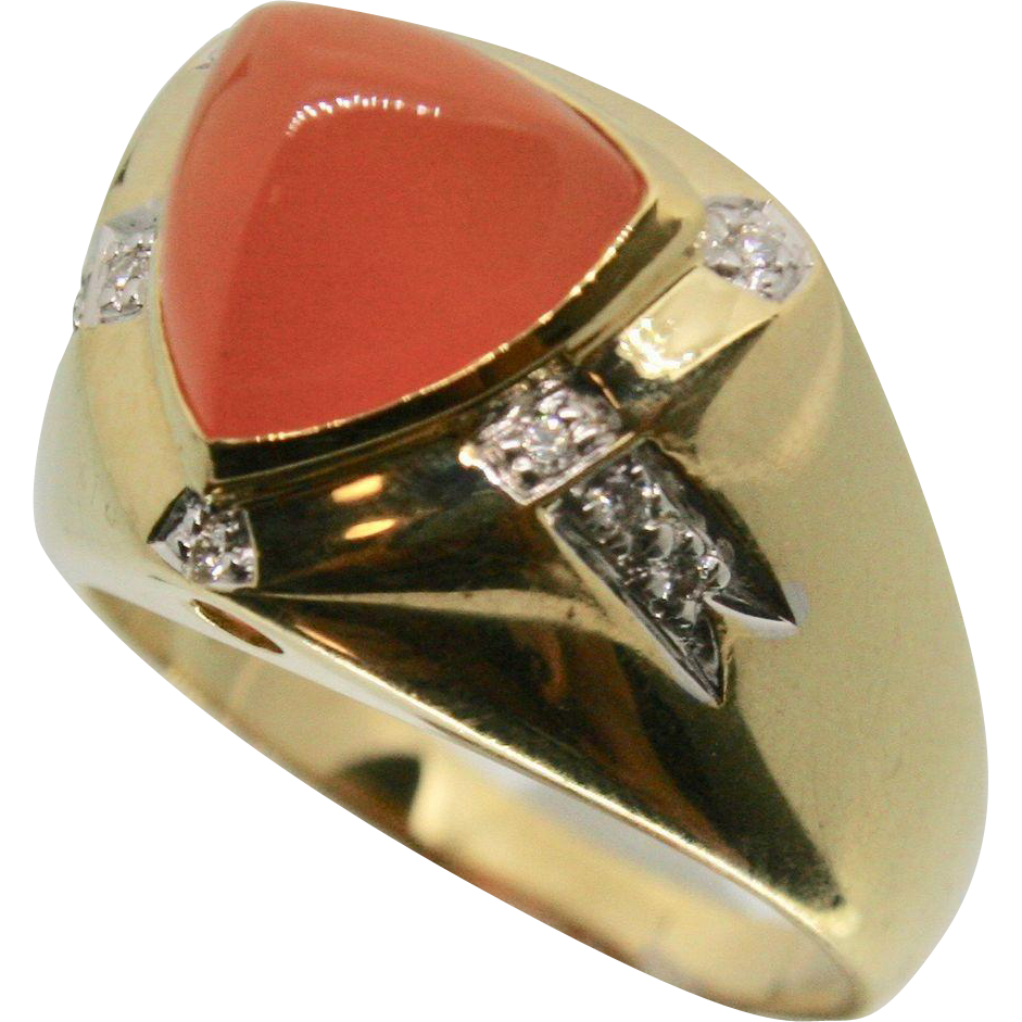 14k Solid Gold & Orange Tourmaline Fine Ring with Diamond Accents