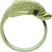 14k Yellow Gold Dolphin Wrap Around Ring~ Size 7