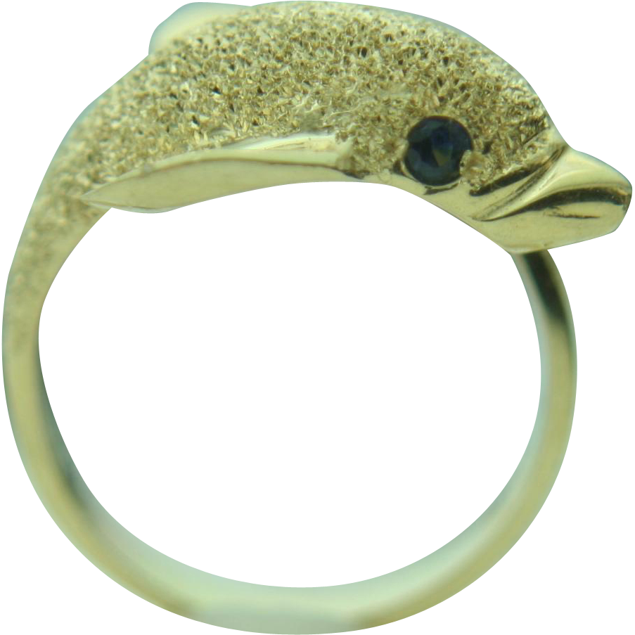 14k solid yellow gold dolphin wrap around ring from