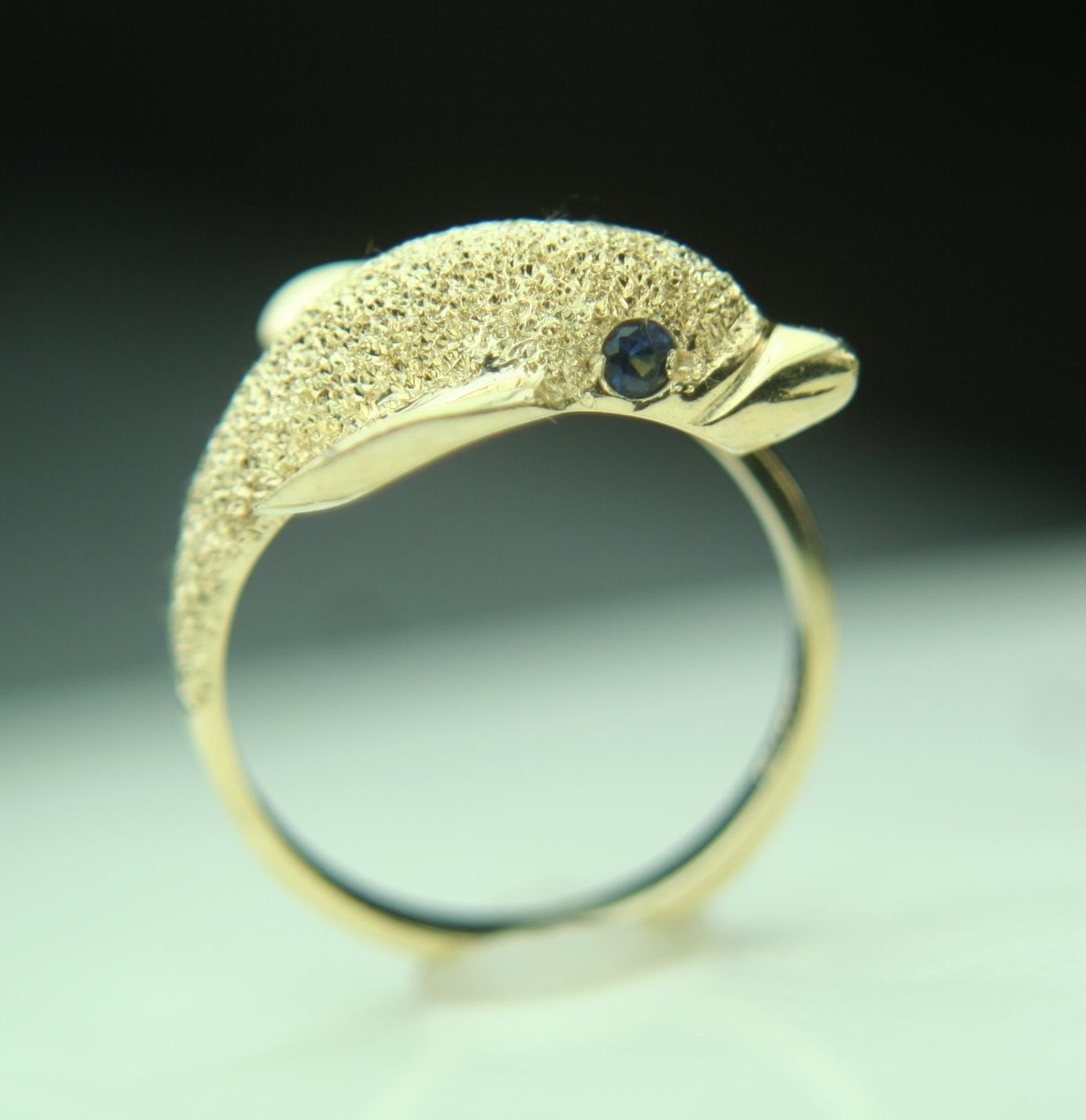 14k Solid Yellow Gold Dolphin Wrap Around Fine Ring from