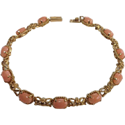 14k Solid Gold Vintage Salmon Colored Glass Tennis Bracelet ~ 7 inches