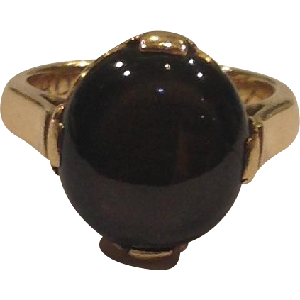 14k Yellow Gold Black Sapphire Cabochon Solitaire Ring