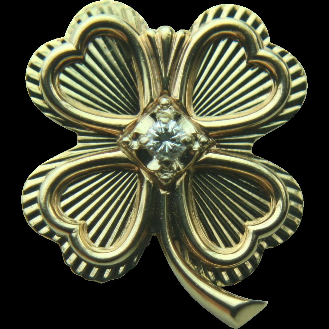 Vintage 14k Solid Gold Four Leaf Clover Shamrock & Diamond Pin