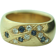 14k Yellow Gold Sapphire & Diamond Bezel Band Ring - Heavy 15.3g