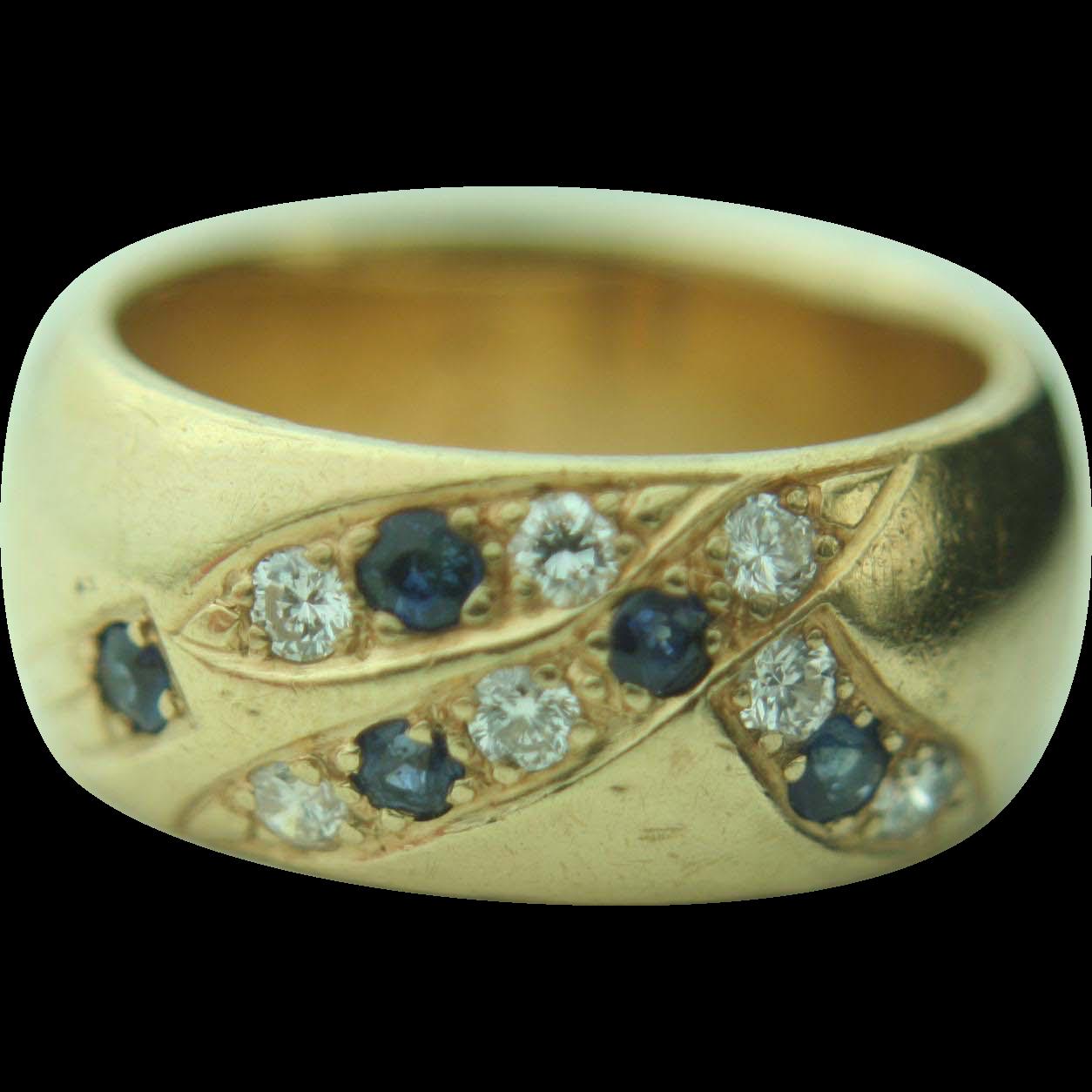 14k Yellow Gold Sapphire & Diamond Bezel Band Ring - Heavy 15.3g