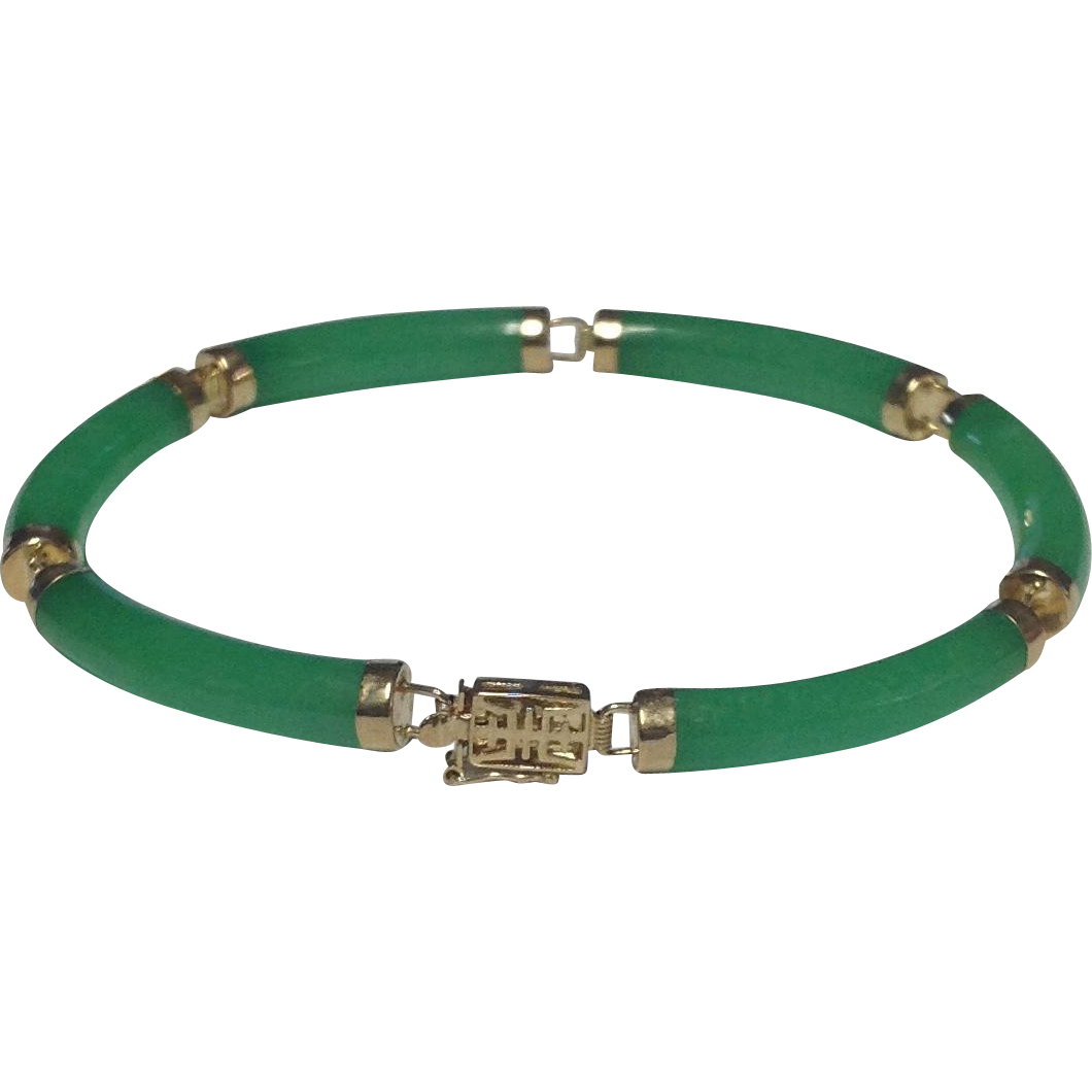 14k Solid Yellow Gold & Green Jade Bracelet ~ 7 inches