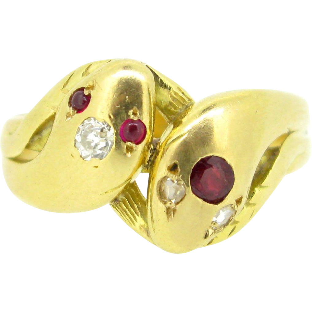 A timeless Victorian Diamond and Ruby Snake ring, 18kt gold, c.1880